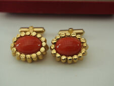 "Vtg 3/4"" gold bars with Coral Red Destino Cufflinks in swank Box 12k Gold Filled"