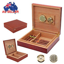 20 Count Cigar Humidor Humidifier Cedar Wooden Lined Case Box with Hygrometer