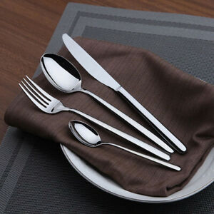 32 Pcs/Set Stainless Steel Cutlery Knives Forks Spoons Teaspoons Guests Dining