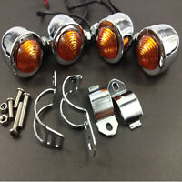 4x clignotant clignoteur moto custom bobber chopper bullet marker light chrome