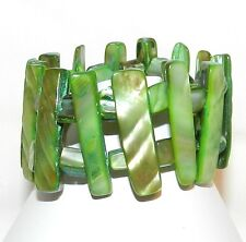 "BR448 Green Mother of Pearl 36mm Stick & Nugget Bead 6"" Stretch Bracelet"