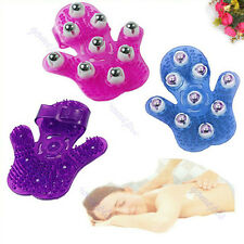 Massage Glove Hand Held 9 Roller Balls Body Massager Adjustable Stress Reliever