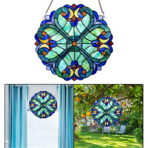 Colorful Stained Glass Window Panel Suncatcher Garden Gift Vintage Style