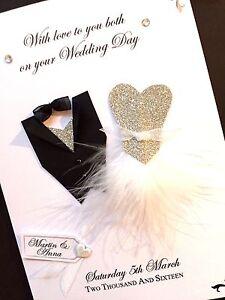 Personalised Handmade Wedding Day Dress Card (Silver Glitter)