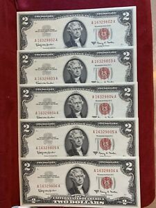 (Lot 5) 1963 Red Seal $2 Dollar Bill - $2 United States Note Consecutive