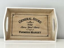General Store Vintage Style wooden Serving Storage Tray with Handles Home Decor