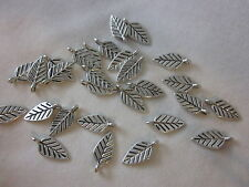 20 Antique Silver Coloured Leaf Charms 18x8mm #ch1698 Combine Post-See Listing