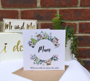 PERSONALISED Will you walk me down the aisle wild flowers foliage wedding card