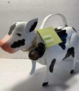 Cow shaped Novelty Plant Sprinkler Watering Can Black /& White Painted Metal