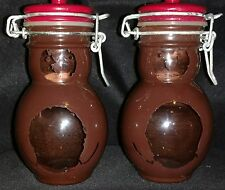 Vintage Honey Bear Jars With Wire Bail Flip Top Lid