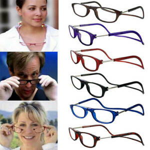 Magnetic Reading Glasses Hanging Neck Snap Click Men Women Folding +1.5~ +4.0