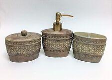 3 Pc Set RAYMOND WAITES Beige 3D Style Vintage Résine Savon Distributeur + Pot +