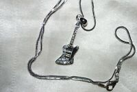 Crystal Guitar Pendant Necklace Band Music Musician Fender Gibson Firebird Jazz