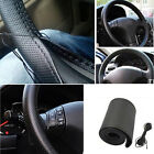 Car Truck Leather Steering Wheel Cover With Needles and Thread Black DIY SEAU