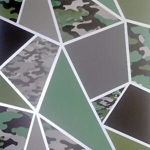 Camo Fragments Wallpaper Geometric Camouflage Green Brown Silver wallpaper909709