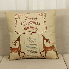 Cotton Linen Christmas Deer Pillow Case Cushion Cover Sofa Car Decor Xmas Party 4