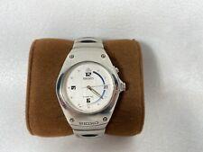 Seiko Kinetic Arctura Watch Black & Silver Two-Tone 5M42-0E39 White Dial 37mm