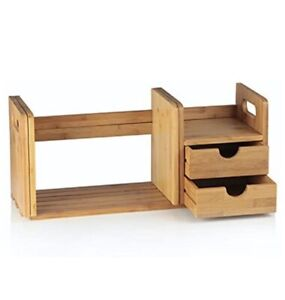 Bamboo Expandable Desk Organiser with 2 Drawers for Office and Home