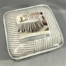 Lush Decor Gray Ticking Stripe Bedspread Shabby Chic Farmhouse Style Lightweight