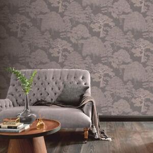 Orient Forest Charcoal/Rose Gold Metallic Wallpaper