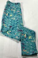 LuLaRoe OS One Size Leggings White Yellow teal Peach geometric leaves triangles
