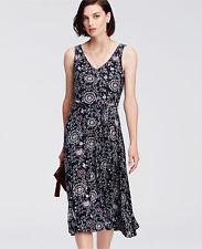 Ann Taylor Paisley Print Belted Jersey Midi Dress, Rayon, Navy Blue, Size M, NWT