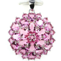 30x25mm Anniversary 4.3g Pink Tourmaline Gift 925 Solid Sterling Silver Pendant
