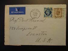 1940 Ealing London England Evanston Illinois Usa Censorship Wwii Airmail Cover