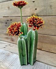 Triple Stem Ceramic Cactus Vase Green