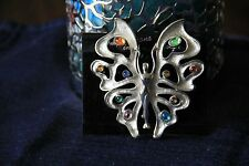 JJ Jonette Butterfly w/stones Pin Pewter Silver Signed Artifacts RARE Nude Lady