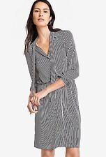 Ann Taylor Stripe shirtdress MP Long sleeves Button front Tie belt NWT