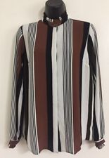 Ex Ladies Black Brown White Stripe Print Chiffon Shirt Blouse Top Size 8-20