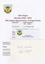 John Angus Burnley 1956-1972 Original Corte/tarjeta firmada a mano