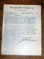 1894 Letter - Lyon Table & Supply Co Buffalo NY To Geo Danner Co Manheim PA