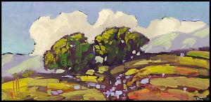 Wm HAWKINS Original Valley Trees Clouds Landscape Impressionism Oil Painting Art