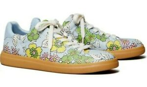 TORY BURCH HOWELL COURT LEATHER SNEAKER BLUE WALLPAPER FLORAL SOLD-OUT! SZ 9 NIB