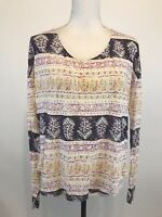 Free People Women's Shirt XS Long Sleeve Top Multi Color Cotton