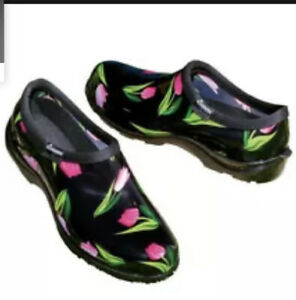 Pink Tulip Print Women Sloggers Waterproof Garden Shoes Size 9 NWT