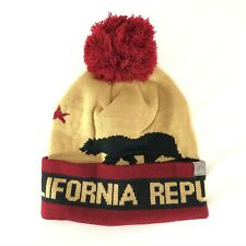 Cirque CA California Beanie Hat Bear Pom Cuffed Burgundy Brown One Size