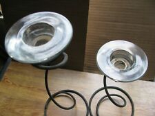 New ListingWrought Iron And Glass Candle Holders (Set Of 2)