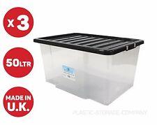 3 x Caja de Plástico de 50 Litros, Recipiente De Calidad Con Tapa Negro Barato!!!!!!