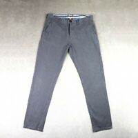 Mens SUPERDRY Chinos Slim fit Tapered leg Trousers Grey Smart Size W34 L30