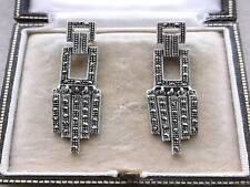 Deco Inspired Open Work Marcasite & Silver Tassel Drop Earrings