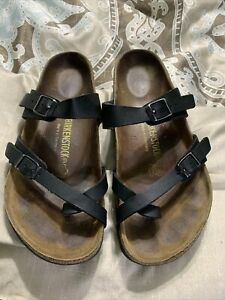 Birkenstock Mayari Black Leather Birko Flor Slip on Adj Strap Sandals Size 39