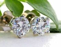 Solid 14K White Gold Finish 2Ct Round Cut D/VVS1 Diamond Solitaire Stud Earrings