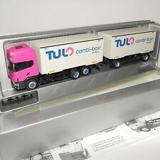 "Herpa 1:87 Scania 144 Wechselkoffer-Hängerzug "" TULO / cargo-box "" OVP(EK1948)"