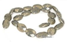 """18X13MM PALAZZO IRON PYRITE GEMSTONE FACETED FLAT OVAL 18X13MM LOOSE BEADS 7.5"""""""