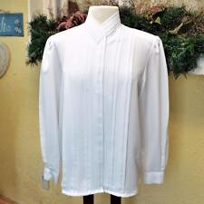 Womens 12 Dress Blouse White Pleats Hidden Buttons High Neck LS Secretary Career