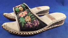 Vintage Sevim Turkish Embroidery Espadrille Curled Toe Wedge Mules Shoes Sandals