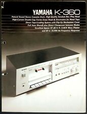 Yamaha K-360 Vintage Stereo Cassette Deck - Original Promotional Brochure